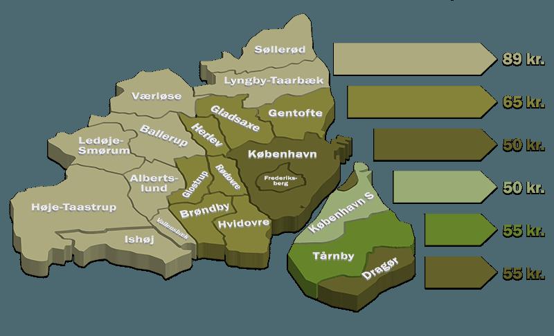 billede som viser leverings priszoner i storkøbenhavn